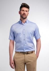 eterna vasalásmentes karcsúsított férfi ing rövid ujjú kék - modell