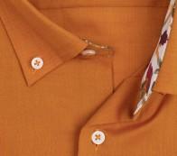 eterna vasalásmentes férfi ing rövid ujjú narancs-terrakotta - gallér