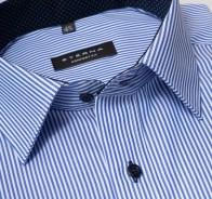 eterna vasalásmentes férfi ing kék csíkos - gallér