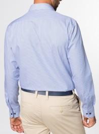 eterna vasalásmentes karcsúsított férfi ing kék csíkos (kék gombok) hosszított ujjú - modell hát